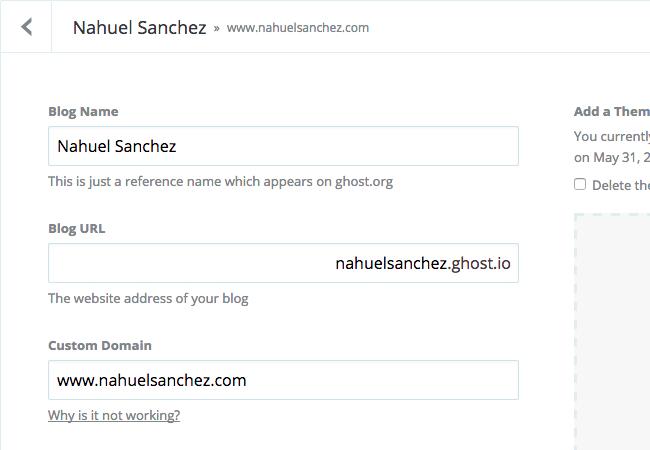 Ghost blog configuration using www as Custom Domain